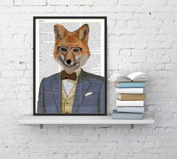 Fox portrait wall art Wall decor funny fox art, Unique Gift Fox with suit wall hanging  Poster Print art funny ANI170