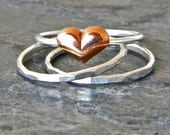 Silver Stacking Ring Set of Three 3, Heart Thumb Ring, Serendipity Women's Jewelry