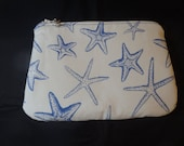Nautical Makeup Bag, Starfish Cosmetic Clutch, Zip Pouch, Cosmetics Bag, Ditty Bag, Go Bag, Beach Gifts, Gifts for Her - One of A Kind