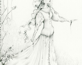 Fantasy Drawing Art Print Black and White Fine Art Giclee Print of my Fantasy Woodland Drawing Illustration Classic Art Fine Art