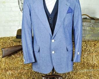 44 Short Light Weight Blue Cotton Blazer -- American Union Made Never Before Worn