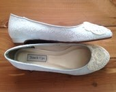 SALE Lace wedding shoes ballet flats low heel short heel bridal shoes embellished with ivory Venice lace  - Ready to Ship Size 8.5