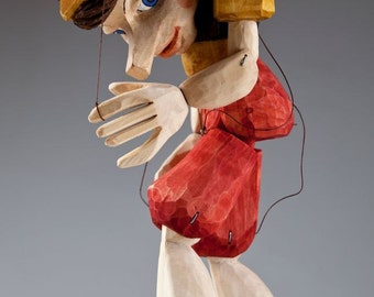 Pinocchio Hand Carved Wooden Czech Marionette M size