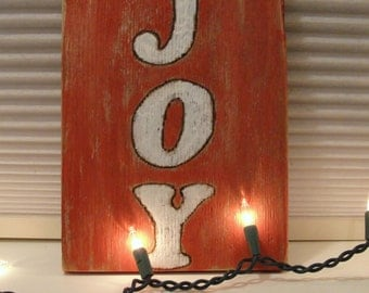 JOY wood Christmas sign holidays wall hanging upcycled