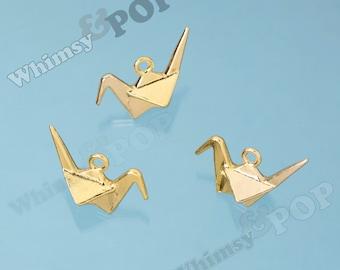 Gold Tone Origami Crane Bird Charms, Bird Charms, Origami Bird Charm, Modern Bird Charm, 27mm x 20mm (R9-080)
