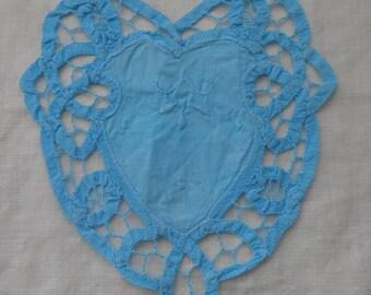 Vintage Hand-Dyed Aqua Heart Doily