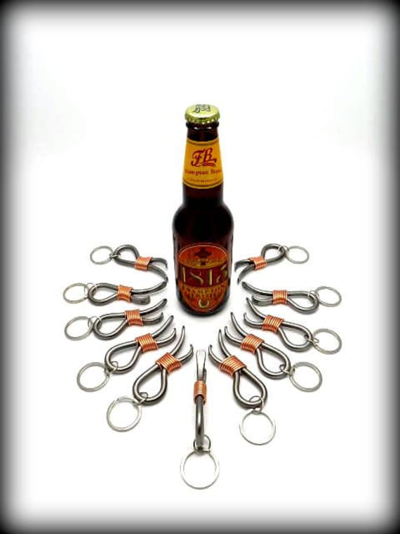 11 Keychain Bottle Openers Groomsmen Gift Set - Personalized Option Available - Hand Forged by Naz - Gifts for Groomsmen Ushers Gift Men