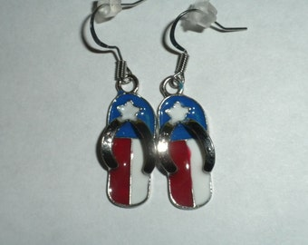 Celebrate America, Red White and Blue Flipflop Earrings - FREE SHIPPING!