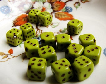 vintage dice beads - yellow green glass cubes with black dots - novelty jewelry supply - 15 beads