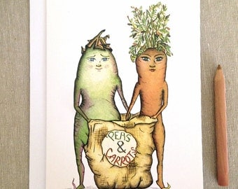 "Pea's & Carrot  - Congrat's to Another Year in the Sack"" - Anniversary, marriage, pea and carrot, potato sack Greeting Card"