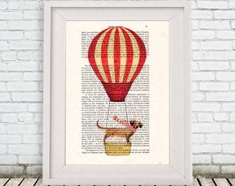 Daschund Print, Hot airballoon print,Poster Illustration Acrylic Painting Animal Portrait  Decor Wall Hanging Wall Art Drawing