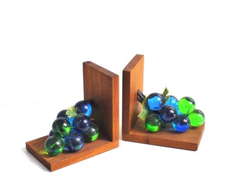 Wood and Lucite Grape Bookends