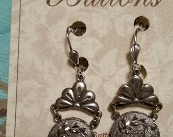 ANTIQUE GLASS BUTTON Earrings 1890 Black Glass with Silver Lustre Flowers