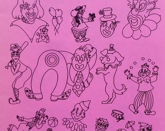Aunt Martha's  Hot Iron On Transfers CLOWNS 1 Embroidery Patterns Booklet