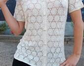 1960s crochet TOP handmade lace scallop festival cream mandala boho vintage // Size: S / M / L / Xl