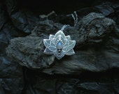 Lotus Pendant - Water Lily Necklace - Silver Flower Necklace - Moonstone Necklace - Heart Chakra Necklace