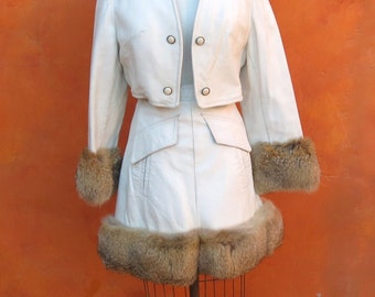 Vintage 60s 70s White Leather + Real Fur Trim Mini Skirt + Cropped Jacket Coat Suit moto. Gogo go go Mod 2 Piece 1960s outfit