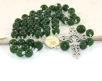 Holy Spirit Rosary, Greenstone - Nephrite Jade Gemstone Beads, 5 Decade Rosary