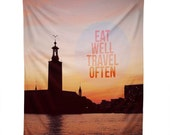 Wall Tapestry. Eat Well Travel Often. Wall Hanging Fabric. Dorm Décor. Typography Decorative Wall Décor. Wanderlust Wall Tapestry. Stockholm