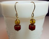 Red Gold Crystal Drop Earrings, Christmas Gift Mom Mother Gift Sister Aunt Gift Grandmother Girlfriend Bridesmaid Birthday Gift