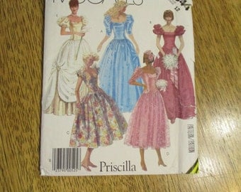 DESIGNER Priscilla 1980s Formal Ball Gown with Puff Sleeves & Drop Waist - CHOOSE Size 12 or 14 - UNCUT Vintage Sewing Pattern McCalls 2344