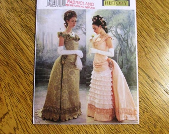 VICTORIAN Evening Gown - Bustle Back, Dove Front, Boned Bodice - Size (6 - 8 - 10) - Rare UNCUT Sewing Pattern Butterick 3012