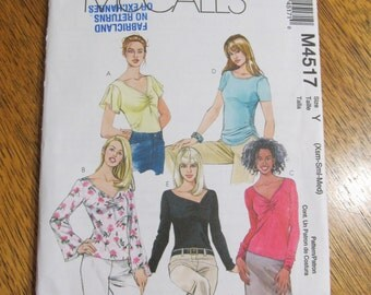 BOHO T-Shirt Tops with Gathered Front or Side, Flutter Sleeves - Size (Xsm - Sm - Med) - UNCUT Sewing Pattern McCalls 4517