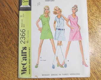1970 MOD Fit and Flare A-Line Dress w/ Low Scoop Neckline - For Knits - EASY to Sew - Size 10 - UNCUT Sewing Pattern McCalls 2366