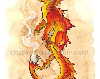 Dragon illustration 'Autumn Coffee' - 11x14 inch print