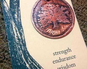 Oak Tree - Etched Copper Pendant - Spirit Tree Jewelry
