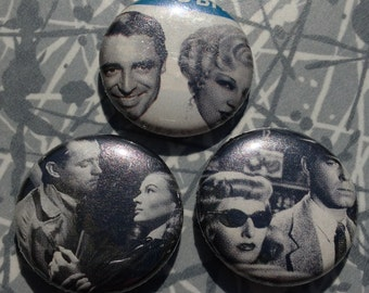 "Vintage Black and White Couple 1"" Pin Set of 3 Pinback Buttons Spys Retro"
