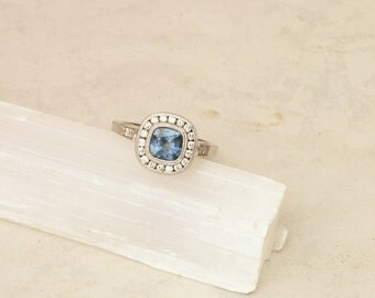 SOLD Cushion Cut Blue Sapphire Engagement Ring, Vintage Style Blue Sapphire Wedding Ring