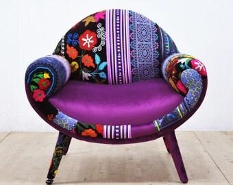 Smiley patchwork armchair - purple love
