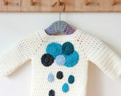 Crochet baby sweater clouds and raindrops -->  english PDF PATTERN