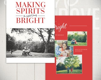 Christmas Card Template: Bright Spirits B - 5x7 Holiday Card Template for Photographers