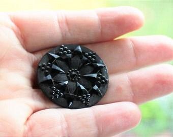 Victorian Antique Black Glass Button, Large
