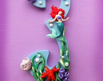 Mermaid Letter or Number Cake Topper