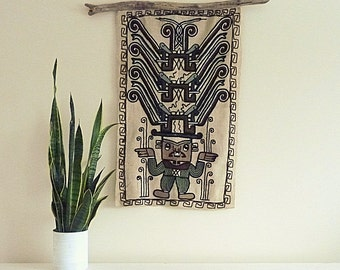 Vintage Wall Tapestry Textile -Boho Wall Hanging- Tribal Decor - 1970s