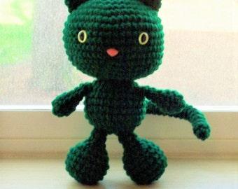 Playful Kitten - Dark Hunter Green Crochet Cat Doll (Ready to Ship)