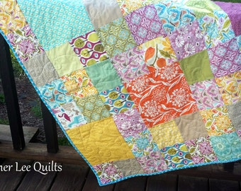 Large, Modern, Baby Girl/Toddler Patchwork Quilt with Flowers, Trees, Animals - Purple, Teal, Pink, Yellow, Orange - Ready to Ship
