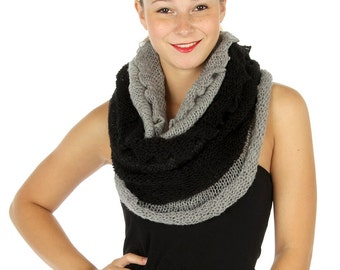Double Layered Infinity Scarf, Two Scarves in One, Black & Grey Knitted Infinity Scarf, Reversible Scarf, Snood, Cowl, Womens Scarves, Boho