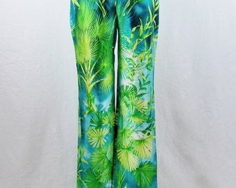 Vintage GIANNI VERSACE RARE Infamous Palm Jungle Print Wide Leg Miami Silk Pants Size 44