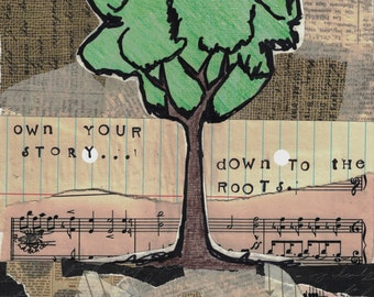 Roots | Family Tree  | Inspirational Print | Mixed Media Print | Collage | Story | 8X10