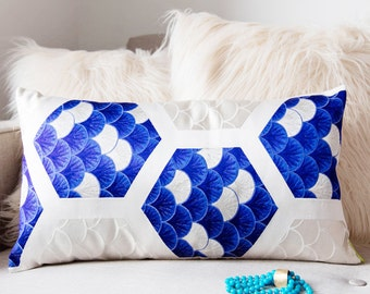 Silk Cushion in Blue, White, Silver, Upcycled Vintage Japanese Kimono Obi Rectangular Throw Pillow, Decorative Hexagon and Seigaiha Pattern