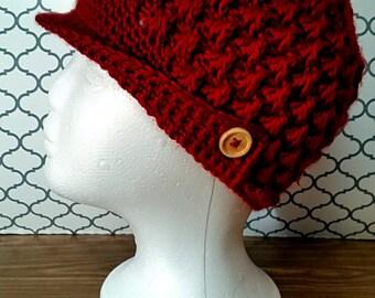 Crochet Hat Winter Beanie Womens Brim Hat ready to ship