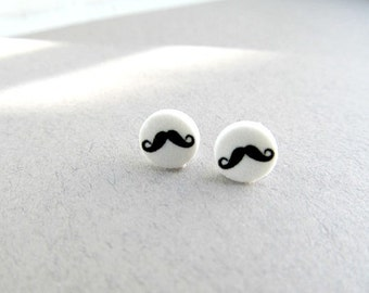 Mini Mustache Stud Earrings Tragus, black and white