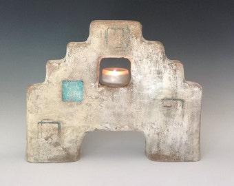 Southwest Pueblo Candleholder/Concrete Sculpture/Turquoise White Terra Cotta/ Unique Candleholder