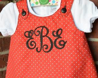 Reversible Jumper Pinafore A-Line Dress, Sizes 0-3 Mos. to Girls 6