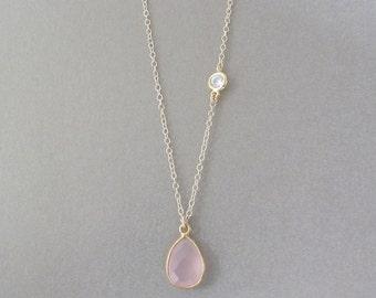 Rose Quartz Drop Necklace - Gemstone Necklace - Gold Necklace - Rose Necklace