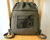 Vintage Camera Backpack Screen Printed Canvas Laptop Bag Gift for Photographer